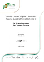 Fetac Certification for Joseph Lee - Driving Instructor