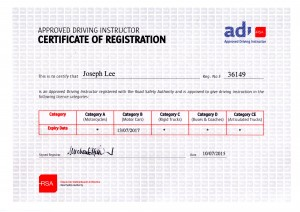 RSA Certification for Joseph Lee - Driving Instructor